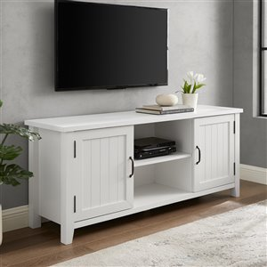 Walker Edison Grooved Door TV Console - 58-in - Solid White