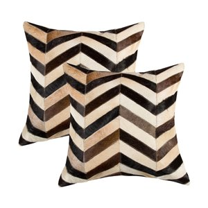 Natural by Lifestyle Torino Cowhide Chevron 2-Piece Tricolor 18-in x 18-in Square Indoor Decorative Pillow