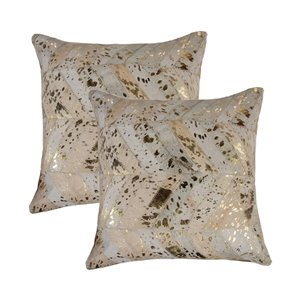 Natural by Lifestyle Torino Cowhide Chevron 2-Piece Natural and Gold 18-in x 18-in Square Indoor Decorative Pillow