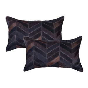 Natural by Lifestyle Torino Cowhide Chevron 2-Piece Chocolate 12-in x 20-in Rectangular Indoor Decorative Pillow