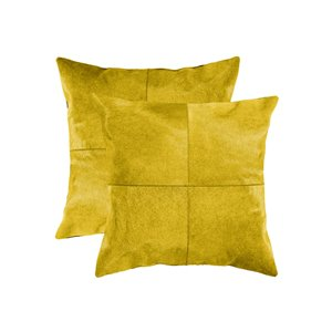 Natural by Lifestyle Torino Cowhide Quattro 2-Piece Yellow 18-in x 18-in Square Indoor Decorative Pillow