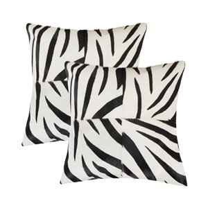 Natural by Lifestyle Torino Cowhide Togo Quattro 2-Piece Zebra Black on White 18-in x 18-in Square Indoor Decorative Pillow