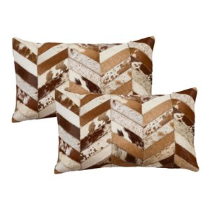 Natural by Lifestyle Torino Cowhide Chevron 2-Piece Brown and Natural 12-in x 20-in Rectangular Indoor Decorative Pillow