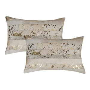Natural by Lifestyle Torino Cowhide Madrid 2-Piece Natural and Gold 12-in x 20-in Rectangular Indoor Decorative Pillow