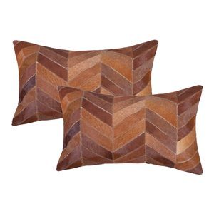 Natural by Lifestyle Torino Cowhide Chevron 2-Piece Tan 12-in x 20-in Rectangular Indoor Decorative Pillow