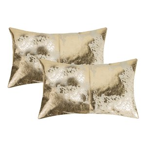 Natural by Lifestyle Torino Cowhide Scotland 2-Piece Natural and Gold 12-in x 20-in Rectangular Indoor Decorative Pillow
