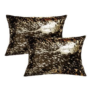 Natural by Lifestyle Torino Cowhide Scotland 2-Piece Chocolate and Gold 12-in x 20-in Rectangular Indoor Decorative Pillow