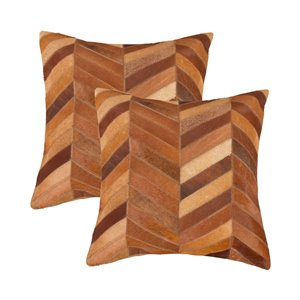 Natural by Lifestyle Torino Cowhide Chevron 2-Piece Tan 18-in x 18-in Square Indoor Decorative Pillow