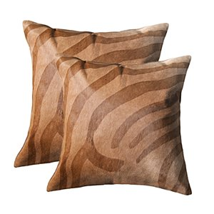 Natural by Lifestyle Torino Cowhide Togo 2-Piece Zebra Brown on Natural 18-in x 18-in Square Indoor Decorative Pillow