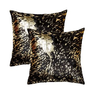 Natural by Lifestyle Torino Cowhide Scotland 2-Piece Chocolate and Gold 18-in x 18-in Square Indoor Decorative Pillow