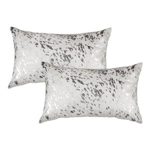Natural by Lifestyle Torino Cowhide Scotland 2-Piece Gray and Silver 12-in x 20-in Rectangular Indoor Decorative Pillow