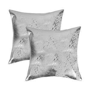 Natural by Lifestyle Torino Cowhide Scotland 2-Piece Gray and Silver 18-in x 18-in Square Indoor Decorative Pillow