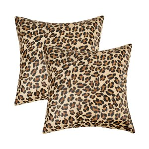 Natural by Lifestyle Torino Cowhide Togo 2-Piece Leopard 18-in x 18-in Square Indoor Decorative Pillow
