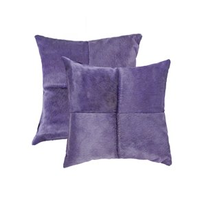 Natural by Lifestyle Torino Cowhide Quattro 2-Piece Purple 18-in x 18-in Square Indoor Decorative Pillow