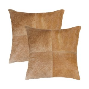 Natural by Lifestyle Torino Cowhide Quattro 2-Piece Tan 18-in x 18-in Square Indoor Decorative Pillow
