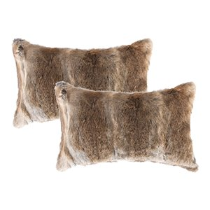 Natural by Lifestyle Rabbit Fur 2-Piece Hazelnut 12-in x 20-in Rectangular Indoor Decorative Pillow