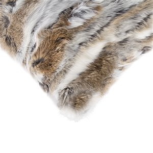 Natural by Lifestyle Rabbit Fur 2-Piece Tan/White 12-in x 20-in Rectangular Indoor Decorative Pillow