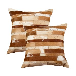 Natural by Lifestyle Torino Cowhide Madrid 2-Piece Brown and White 18-in x 18-in Square Indoor Decorative Pillow