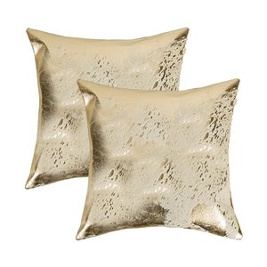 Natural by Lifestyle Torino Cowhide Scotland 2-Piece Natural and Gold 18-in x 18-in Square Indoor Decorative Pillow