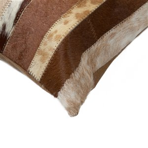Natural by Lifestyle Torino Cowhide Madrid 2-Piece Brown and White 12-in x 20-in Rectangular Indoor Decorative Pillow
