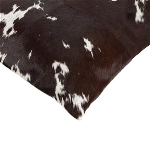 Natural by Lifestyle Torino Cowhide Quattro 2-Piece Chocolate and White 18-in x 18-in Square Indoor Decorative Pillow