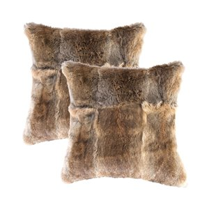 Natural by Lifestyle Rabbit Fur 2-Piece Hazelnut 18-in x 18-in Square Indoor Decorative Pillow