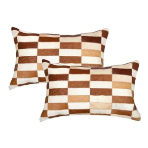 Natural by Lifestyle Torino Cowhide Linear 2-Piece Brown and White 12-in x 20-in Rectangular Indoor Decorative Pillow