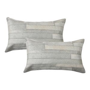 Natural by Lifestyle Torino Cowhide Madrid 2-Piece Gray 12-in x 20-in Rectangular Indoor Decorative Pillow