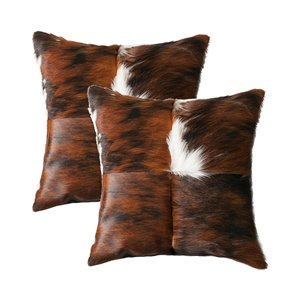 Natural by Lifestyle Torino Cowhide Quattro 2-Piece Tricolor 18-in x 18-in Square Indoor Decorative Pillow