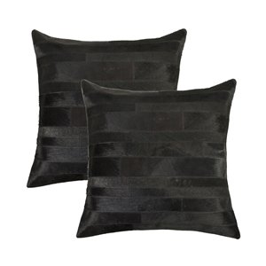 Natural by Lifestyle Torino Cowhide Madrid 2-Piece Black 18-in x 18-in Square Indoor Decorative Pillow