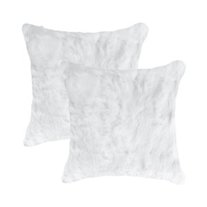 Natural by Lifestyle Rabbit Fur 2-Piece White 18-in x 18-in Square Indoor Decorative Pillow