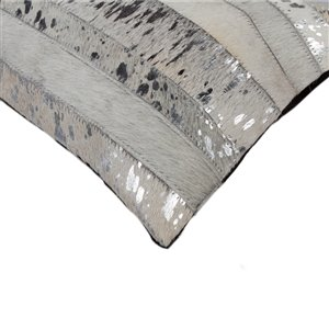 Natural by Lifestyle Torino Cowhide Madrid 2-Piece Gray and Silver 12-in x 20-in Rectangular Indoor Decorative Pillow
