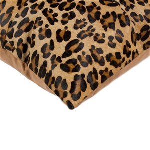 Natural by Lifestyle Torino Cowhide Quattro 2-Piece Leopard 18-in x 18-in Square Indoor Decorative Pillow