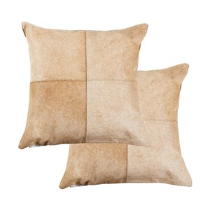 Natural by Lifestyle Torino Cowhide Quattro 2-Piece Tan/White 18-in x 18-in Square Indoor Decorative Pillow