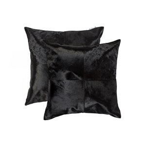 Natural by Lifestyle Torino Cowhide Quattro 2-Piece Black 18-in x 18-in Square Indoor Decorative Pillow