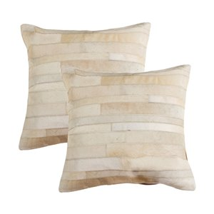 Natural by Lifestyle Torino Cowhide Madrid 2-Piece Natural 18-in x 18-in Square Indoor Decorative Pillow