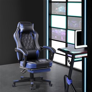 FurnitureR Ergonomic Gaming Chair with Footrest - Blue