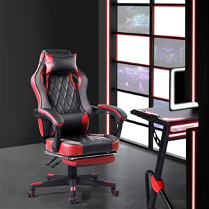 FurnitureR Ergonomic Gaming Chair with Footrest - Red