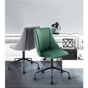 FurnitureR Adjustable Velvet Office Chair - Grey