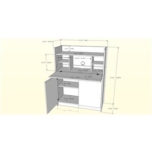 Nexera Chrono Secretary Desk - 36-in - Walnut