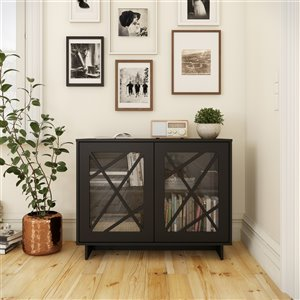Nexera Paragon 2-Door Modern Storage Cabinet - Black