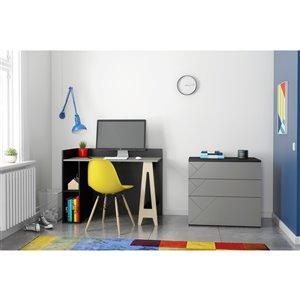 Nexera Atypik 2-Piece Modern Plywood Home Office Set - Black/Greige