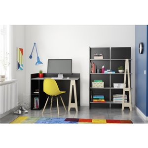 Nexera Atypik 2-Piece Plywood Home Office Set - Black/Greige