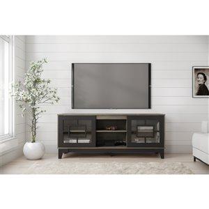 Nexera Magnolia TV Stand - 63-in - Black/Grey