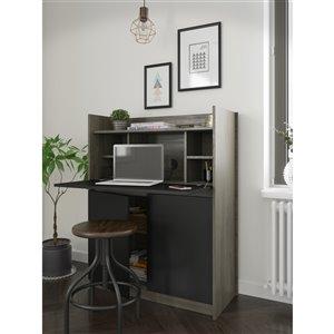 Nexera Chrono Secretary Desk - 36-in - Bark Grey/Black
