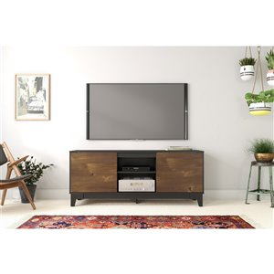 Nexera Rhapsody Contemporay TV Stand - 63-in - Black/Truffle