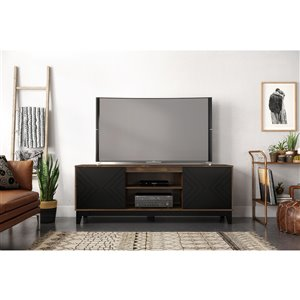Nexera Arrow TV Stand - 72-in - Black/Truffle