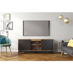 Nexera Hexagon TV Stand - 63-in - Black/Nutmeg