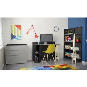 Nexera Atypik Open Storage Plywood Desk - 44-in - Black/Greige