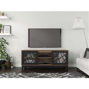 Nexera Graphik TV Stand - 63-in - Black/Nutmeg
